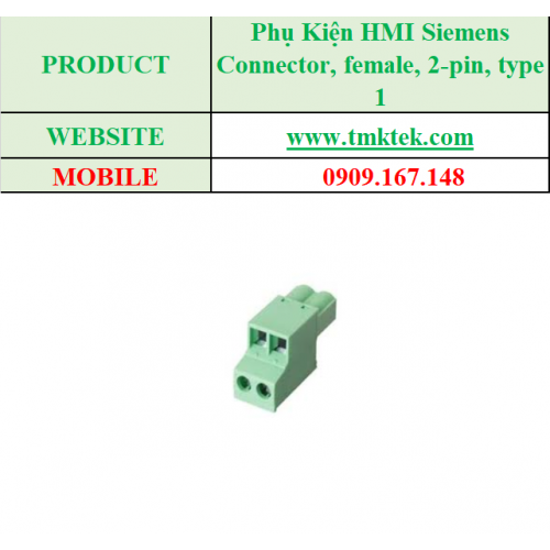 Connector, female, 2-pin, type 1