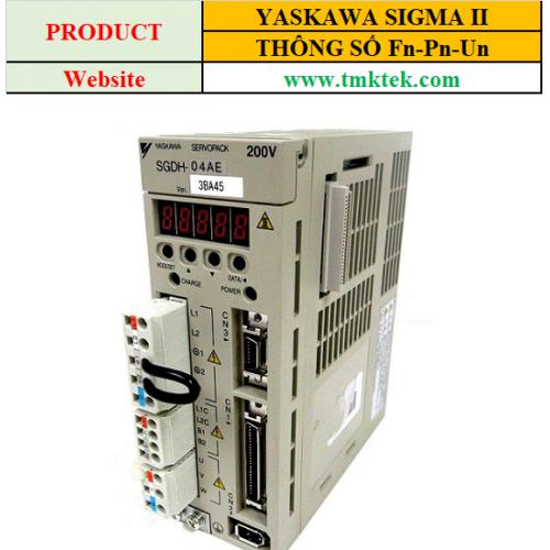 Các thông số cơ bản servo Yaskawa sigma II Fn-Pn-Un