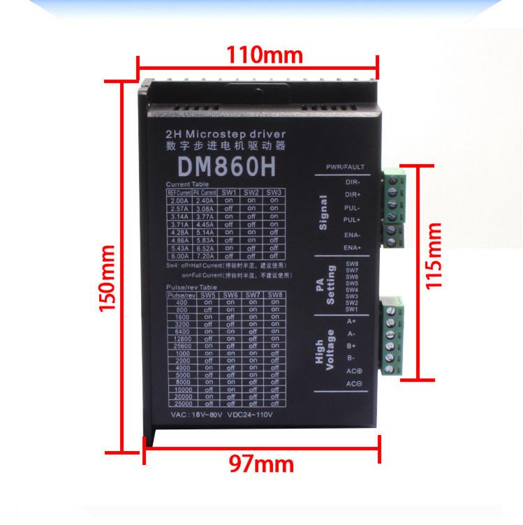 Driver động cơ bước DM860H 7.2A 18-80VAC, 24-110VDC